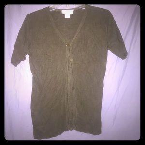 Express Tricot Olive Short Sleeve Silk Cardigan